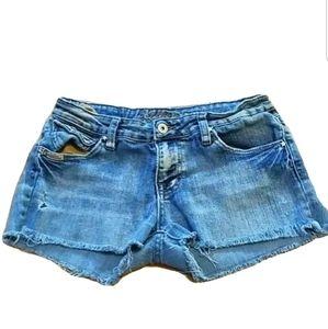 Bubblegum Jean Shorts Size 7/8 Women Raw Hem Blue